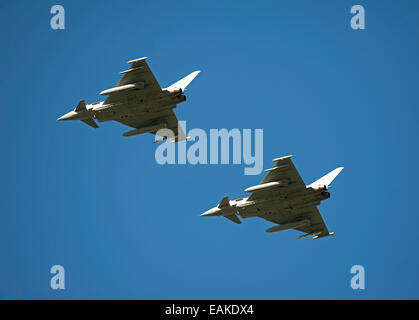 Paired flypast, Eurofighter Typhoon FRG4s on approach to RAF Lossiemouth, Morayshire. SCO 9153 - Stock Photo