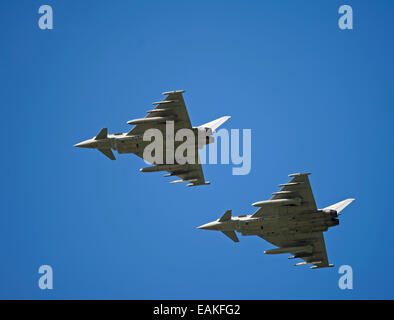 Paired flypast, Eurofighter Typhoon FRG4s on approach to RAF Lossiemouth, Morayshire.  SCO 9161 - Stock Photo
