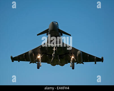 Eurofighter Typhoon FRG4 on approach to its Home Base at RAF Lossiemouth, Morayshire.  SCO 9164 - Stock Photo
