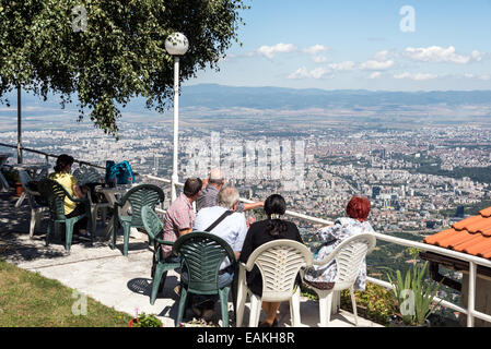 View of Sofia from cafe on Vitosha mountain, Bulgaria - Stock Photo