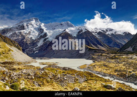 Mount Sefton and Hooker valley, Southern Alps, New Zealand - Stock Photo