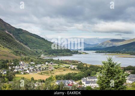 View over Loch Leven & Ballachulish in Lochaber in Scotland. - Stock Photo