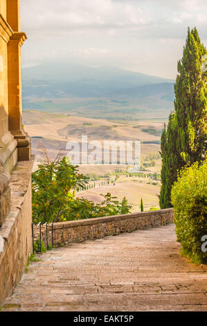 Sunny streets of Italian city Pienza in Tuscany - Stock Photo