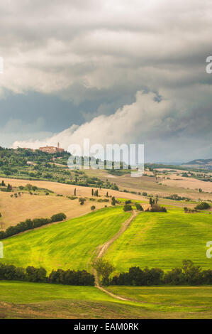 Beautiful Tuscan rural scenery atmosphere in storm day - Stock Photo