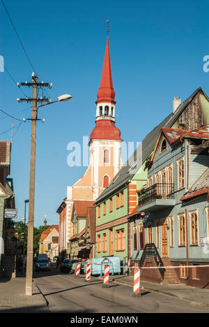 The old town centre in Parnu, Paernu, western town of Estonia by the sea. Beautiful old style wooden church tower,sunny - Stock Photo