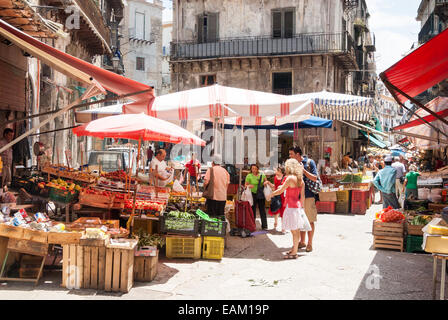 Ballarò Market, Palermo, Sicily, Italy - Stock Photo