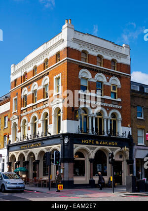The Hope & Anchor pub on Upper Street Islington London N1 UK built in 1880 and famous as a pub rock and punk rock - Stock Photo