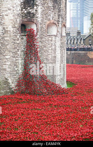 9 November 2014 Blood Swept Lands and Seas of Red installation at Tower of London - Stock Photo
