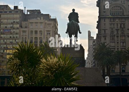 General Jose Artigas Mausoleum, father of the Uruguayan Nation next to the Salvo Palace, an Italian Gothic building, - Stock Photo