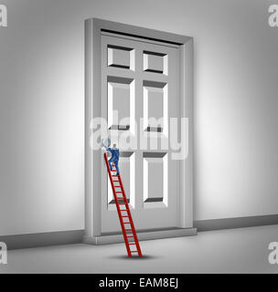 Opening the door business concept as a person climbing a success ladder to open a closed entrance to opportunity - Stock Photo