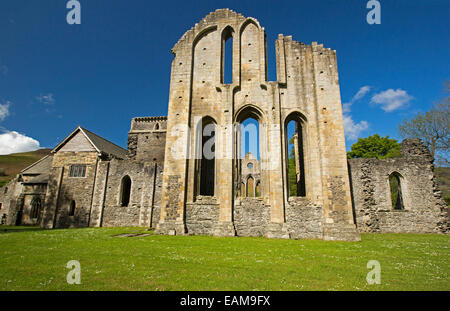 Ornate facade of 13th century Valle Crusis abbey ruins rising from emerald grass to blue sky  near Llantysilio in - Stock Photo