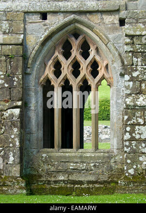 Large ornate arched window in wall of 13th century Valle Crusis abbey ruins  near Llantysilio in Wales - Stock Photo