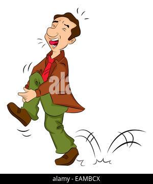 Man in Pain on the tibia, vector illustration - Stock Photo