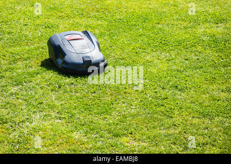 a robotic lawn mower working on a green grass field - Stock Photo