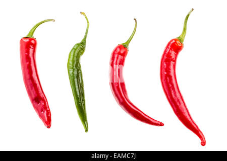red ang green hot chili peppers isolated over a white background - Stock Photo