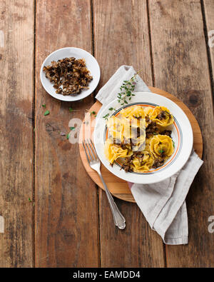 Tortelli Tortellini with grilled mushrooms and onions