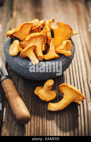 Bowl of chanterelles on а wooden table - Stock Photo