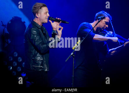 Prague, Czech Republic. 14th Nov, 2014. Singer of U.S. band OneRepublic Ryan Tedder performs in Prague, Czech Republic, - Stock Photo