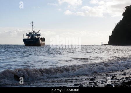 container ship icelandica hav leaving Teignmouth,Devon,Shaldon,General Cargo, shipping, ship, cargo, front, aerial, - Stock Photo