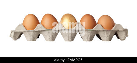 One golden egg in the middle of a tray of eggs isolated on white background - Stock Photo