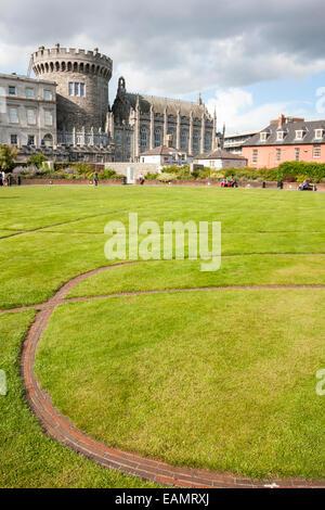 Dublin, Ireland - Aug 11, 2014: Record Tower and Chapel Royal of Dublin Castle  in Dublin, Ireland on August 11, - Stock Photo