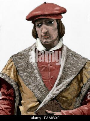 Juan Luis Vives (1493-1540). Valencian scholar and humanist. Portrait. Engraving. Colored. - Stock Photo