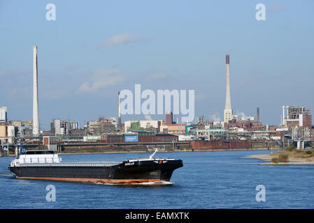 Azolla commercial barge, river Rhine, Krefeld, North Rhine-Westphalia, Germany. - Stock Photo