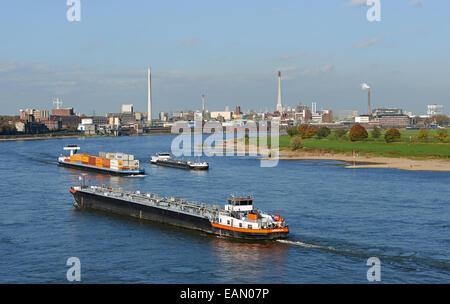 Commercial shipping river Rhine, Krefeld, North Rhine-Westphalia, Germany. - Stock Photo