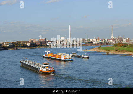Commercial shipping river Rhine, Krefeld, North Rhine-Westphalia, Germany. - Stock Photo