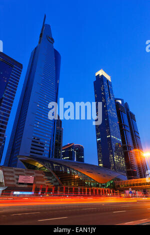 Modern architecture of metro train station on Sheikh Zayed Road in Dubai. - Stock Photo