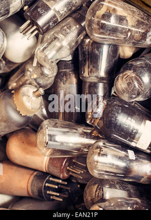 Old radio tubes. - Stock Photo
