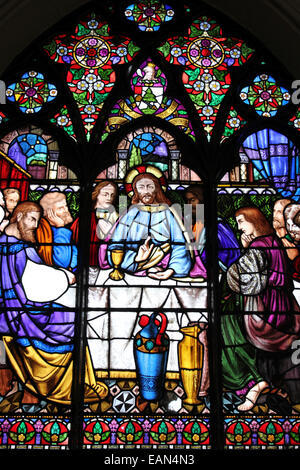 Stained Glass Window Depicting Jesus Christ At The Last Supper - Stock Photo