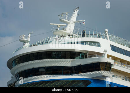 Detail of a cruise liner AIDAmar. AIDAmar is a Sphinx class cruise ship, length 253 m, capacity of 2686 passengers - Stock Photo