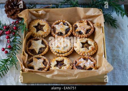 Traditional Christmas mice pies - Stock Photo