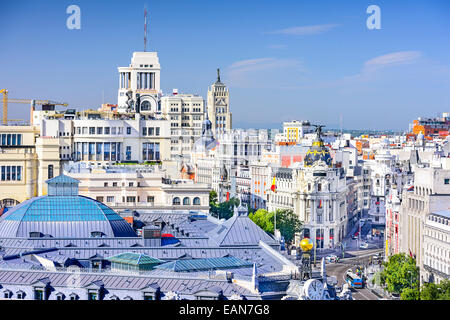 Madrid, Spain cityscape over Gran Via. - Stock Photo