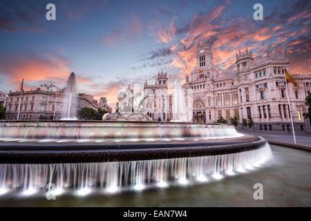 Madrid, Spain at Communication Palace and Cibeles Plaza. - Stock Photo