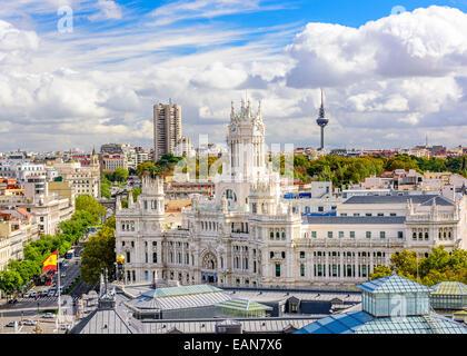 Madrid, Spain skyline at Communication Palace Torrespana Tower. - Stock Photo