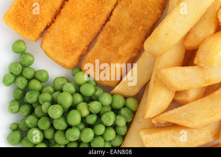 Fish fingers chips and peas a popular children's menu item - Stock Photo