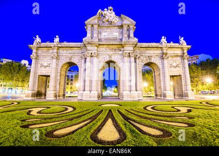 Madrid, Spain at Puerta de Alcala gate. - Stock Photo