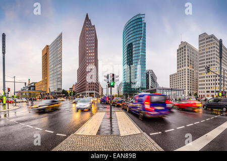 Berlin, Germany city skyline at the Potsdamer platz financial district. - Stock Photo