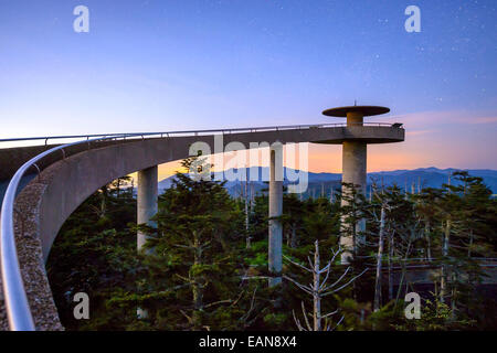 Clingman's Dome mountaintop observatory in the Great Smoky Mountains, Tennessee, USA. - Stock Photo