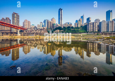 Chongqing, China city skyline on the Jialing River. - Stock Photo