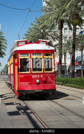 Riverfront streetcar on Canal Street New Orleans city centre USA - Stock Photo
