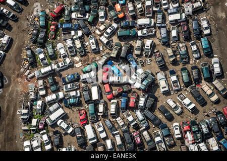 Auto Junkyard Aerial View - Stock Photo