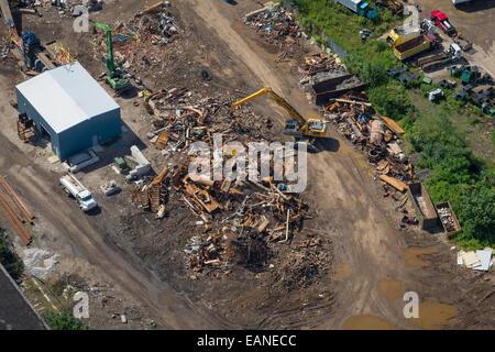 Aerial View Scrap Metal Recycling Yard - Stock Photo
