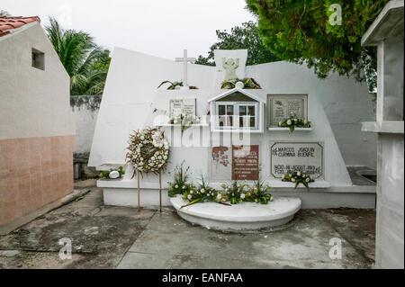 Mausoleum of Professor Alvaro Aguilar Curmina, Eduardo Negrin Baeza, Marcos Joaquin Curmina Buenfil in Mexican cemetery. - Stock Photo