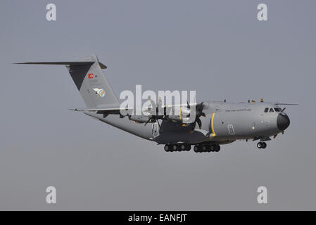 An Airbus A400M Atlas of the Turkish Air Force prepares for landing at Konya Air Base, Turkey, during Exercise Anatolian - Stock Photo