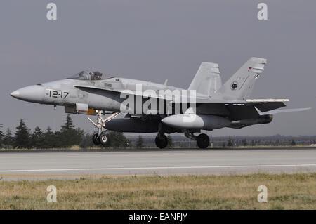A Spanish Air Force EF-18A aircraft landing at Konya Air Base, Turkey, during Exercise Anatolian Eagle 2014. - Stock Photo