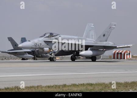 A Spanish Air Force EF-18A aircraft ready for take-off at Konya Air Base, Turkey, during Exercise Anatolian Eagle - Stock Photo