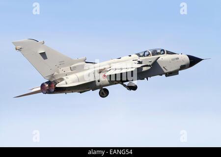 An Italian Air Force Panavia Tornado IDS MLU taking off, Italy. - Stock Photo